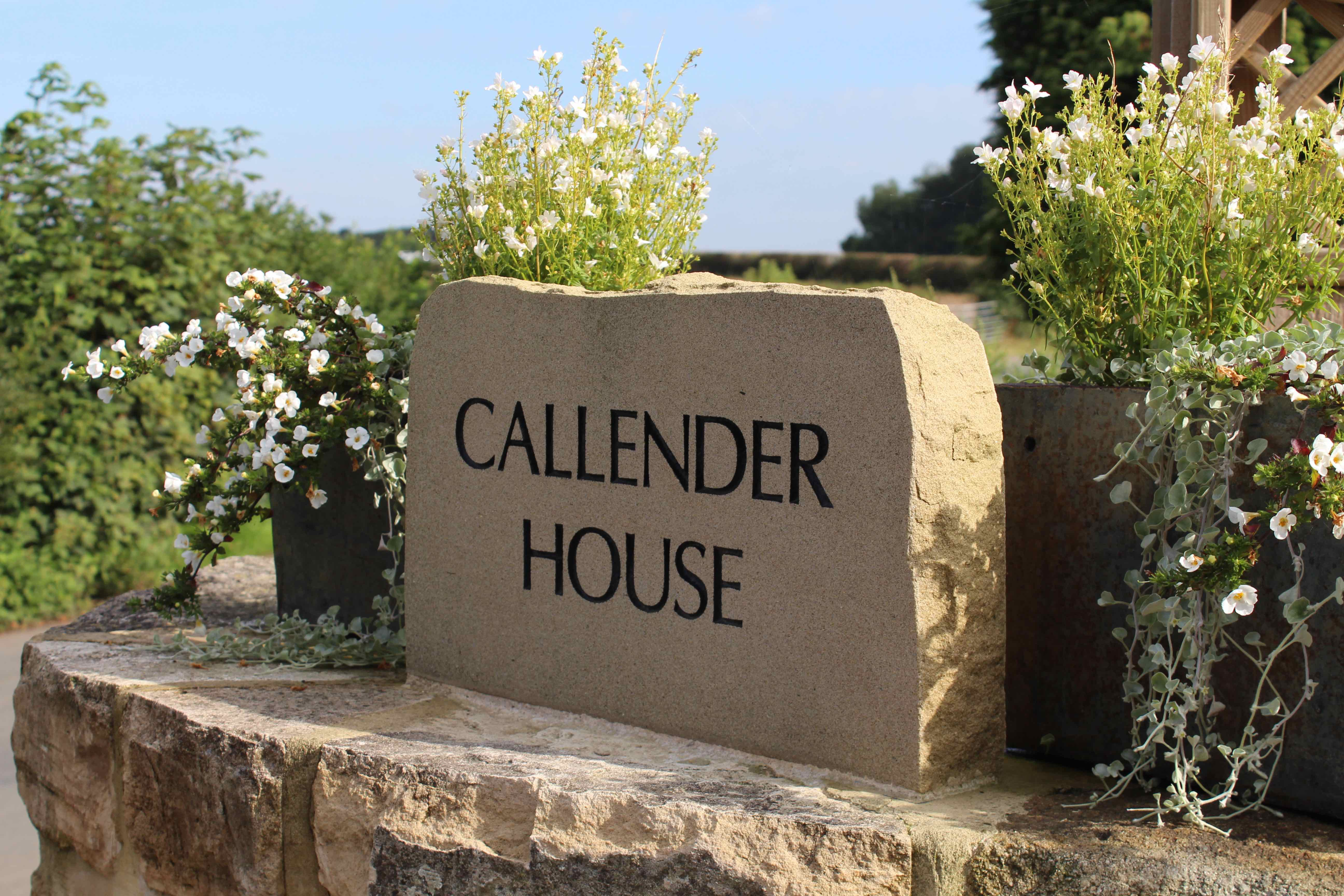 Callender house stone sign.